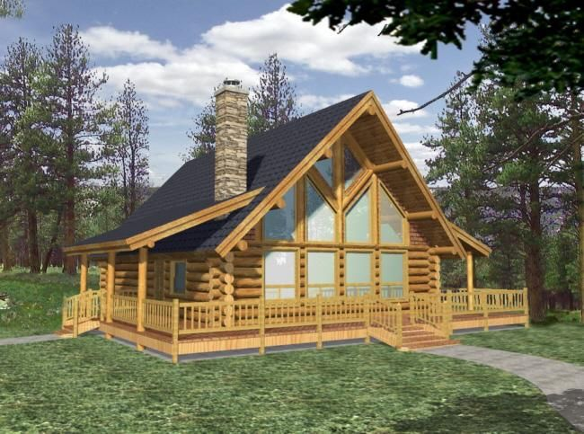 HOUSE PLAN 039 00034 U2013 This Log Cabin A Frame House Plan Is Highlighted