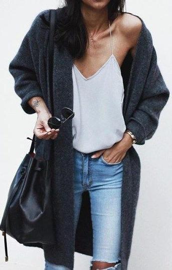 fine cami top. light skinny jeans. dark knitted cardigan.