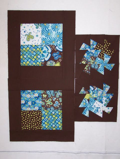 Busy Hands Quilts: Using the Twister Tool ~ in making a table top, instead of the 'boring' 4 square block on the left above, attack the block by using the Twister Tool and you get the cool new look on the right side!  NICE...