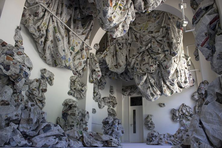 "Almyra Weigel. Installation ""Sotus"" . Newspaper."