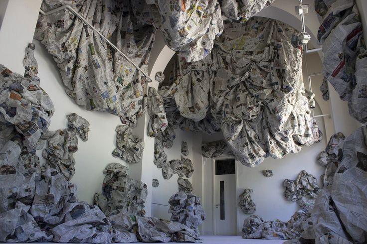 """Almyra Weigel. Installation """"Sotus"""" . Newspaper."""
