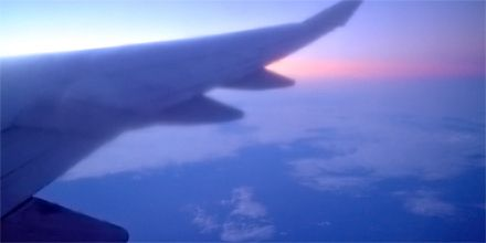 Cruising 35,000 feet over the pacific ocean where night and day have forgotten their boundaries.  #travel #time