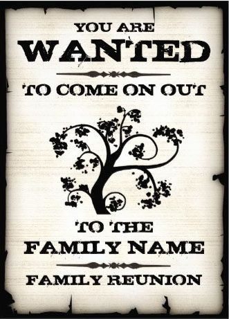 Wanted Vintage Family Reunion Invitations. Very nice! And easy to customize! #family_reunion_invitations #bbq