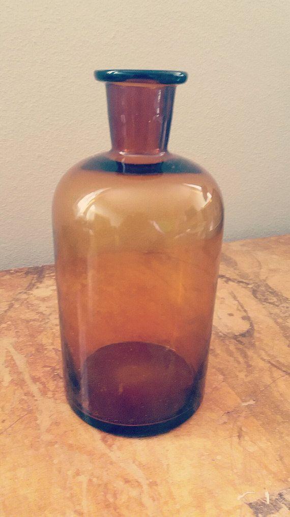 Amber glass bottle di madnessvintage su Etsy
