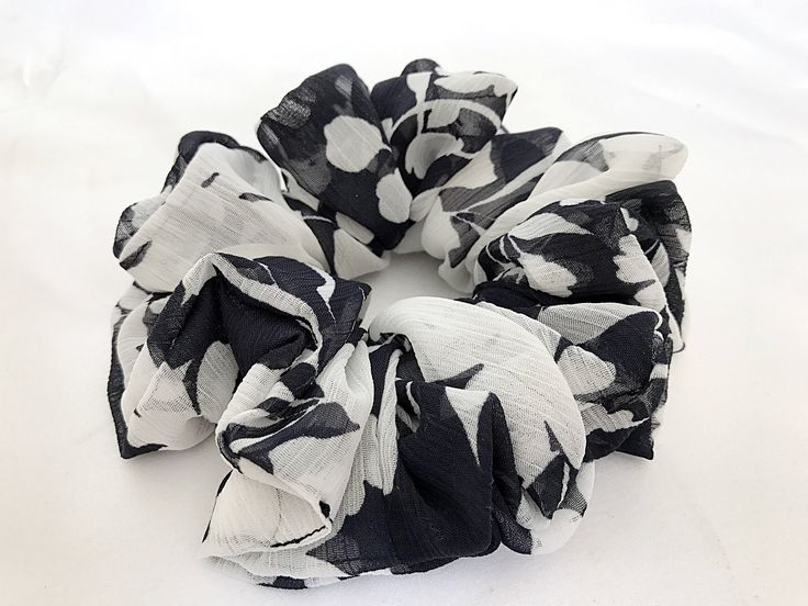 Hair Scrunchie - Floral Hair Accessories - Women's Bows - Hair Scarves - Artsy Clothing - Black and White - Colorful Accessories - Elastic by JustScrunchies on Etsy