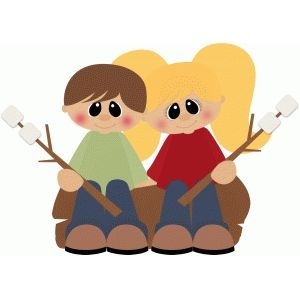 Silhouette Design Store Camping Kids On Log