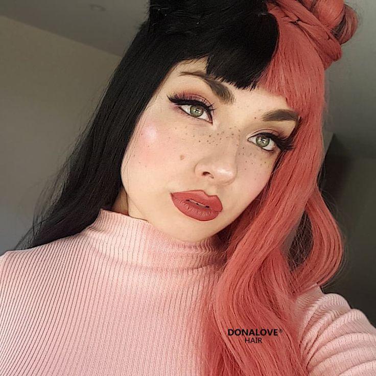 Half Pink Half Black Wig Hair Pink Hair Dye Half And Half Hair Split Dyed Hair