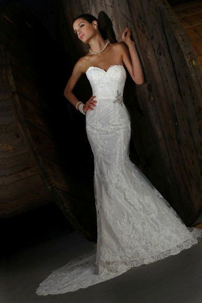 Romantic Rustic Shabby Chic Vintage Ivory White $ - $700 and under Beading Fit-n-Flare Floor Impression Bridal Lace Strapless Sweetheart Wed...