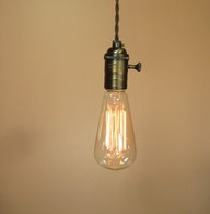 Bare Bulb Pendant Light - Edison Light Bulb - Antique Style Reproduction Wire - Minimalist Home Decor