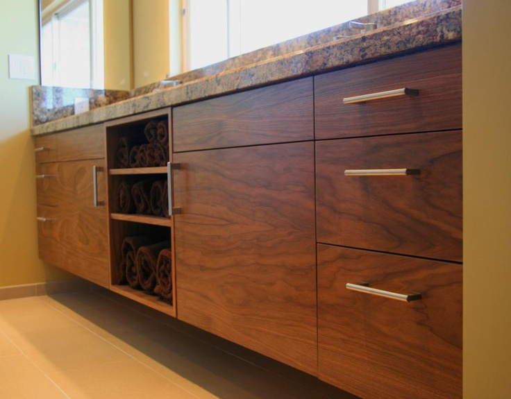 Kitchen Cabinets Ideas using kitchen cabinets for bathroom vanity : Semihandmade Flat Sawn Walnut Doors for Master Bath Vanity ...