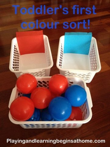 Playing and Learning Begins at Home: Toddler's first colour sort