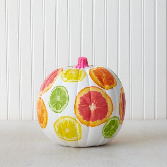 Missing summer already? Craft a citrus themed pumpkin with paints from #marthastewartcrafts to bring a little more sunshine to these colder days.: