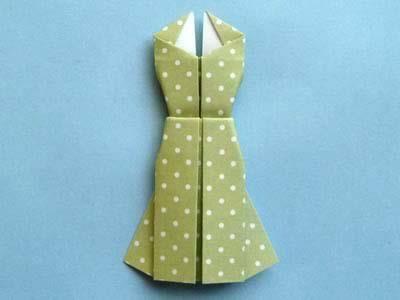 Платье оригами на открытке