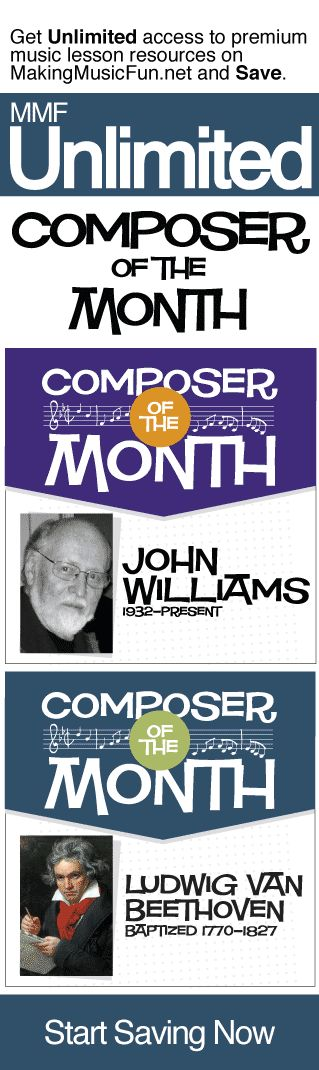 Get Unlimited composer of the month resources with MMF Unlimited and Save. MMF Unlimited gives you instant access to every music education resource on MakingMusicFun.net for one year at a great price.