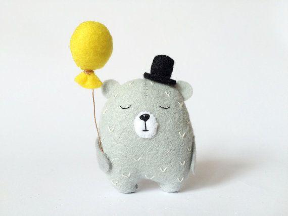 Grey Felt Bear With A Balloon, Teddy Bear, Felt Bear In Top Hat, Tiny Bear Toy, Felted Animals, Felt Animals, Small Stuffed Bear, Mini Bears
