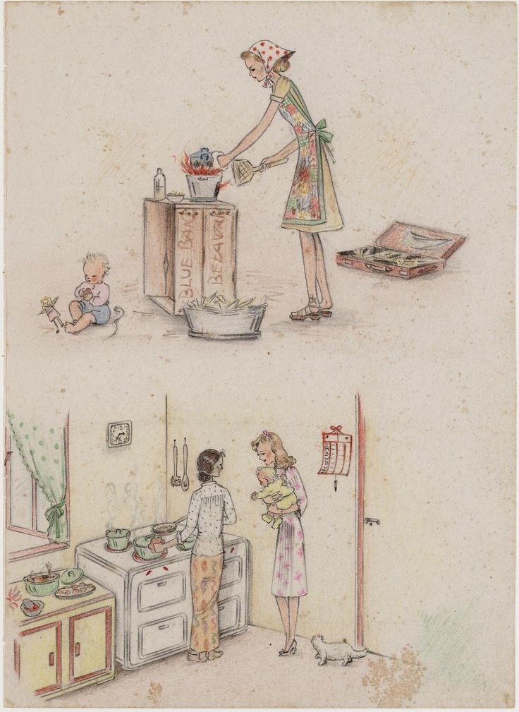 Cooking before and during the internment by Joke Broekema, 1942-1945. Museon, CC BY