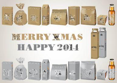 Dit feestelijke thema, geheel in duo colour, heeft als doel medewerkers fijne feestdagen te wensen. Op ieder product staat een letter of cijfer. Deze vormen samen ´Merry Xmas - Happy 2014'.