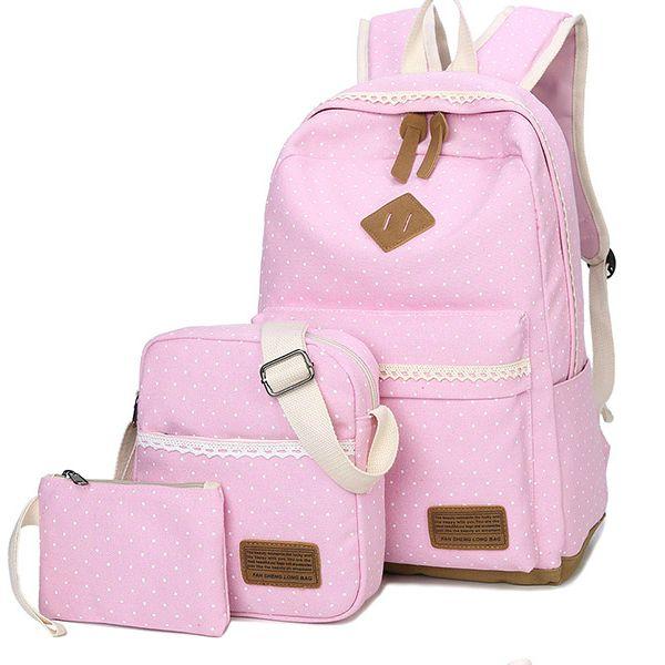 Школьный рюкзак в мелкий горошек 3 в 1, фото 7