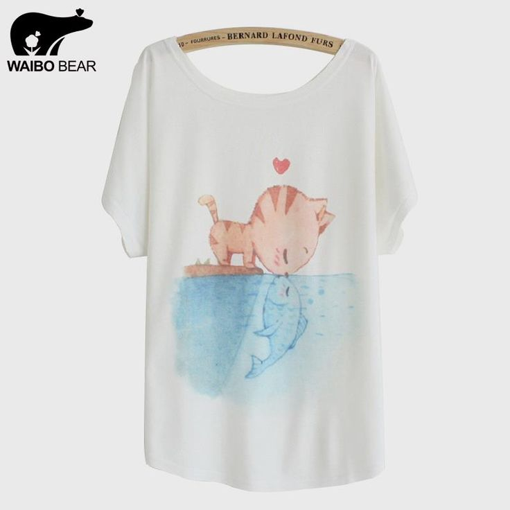 [Magic] New summer T shirt women style thin plus size loose batwing sleeve women's T-shirt cat kiss Fish print Top Tees Like if you remember www.lady-fashion.... #shop #beauty #Woman's fashion #Products