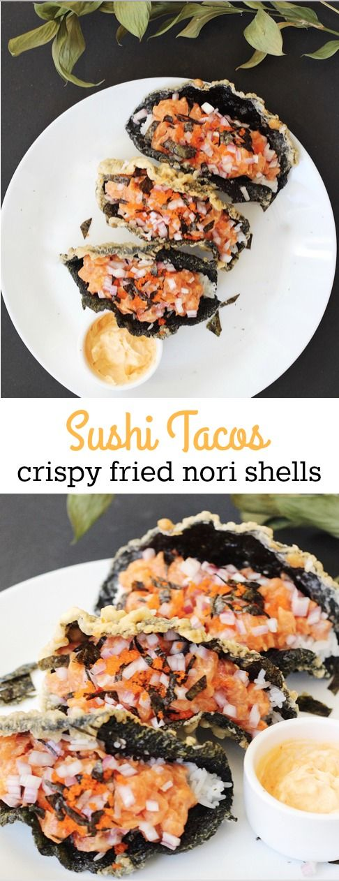 Amazingly delicious sushi tacos! Made with crispy fried nori seaweed sheets as the taco shells and filled with hot white rice and spicy salmon filling. A great Japanese-Mexican Asian fusion dish!