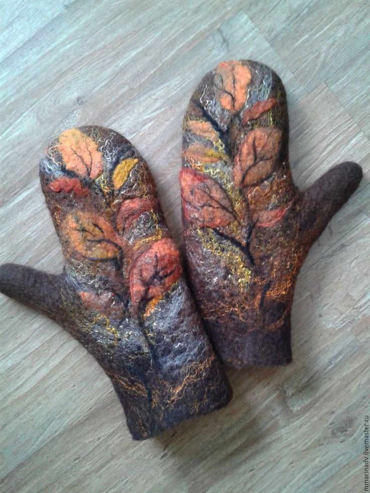 """Купить Валяные варежки """"Листопад"""". - коричневый, листья, листопад, осень, осенние листья, осенние краски"""