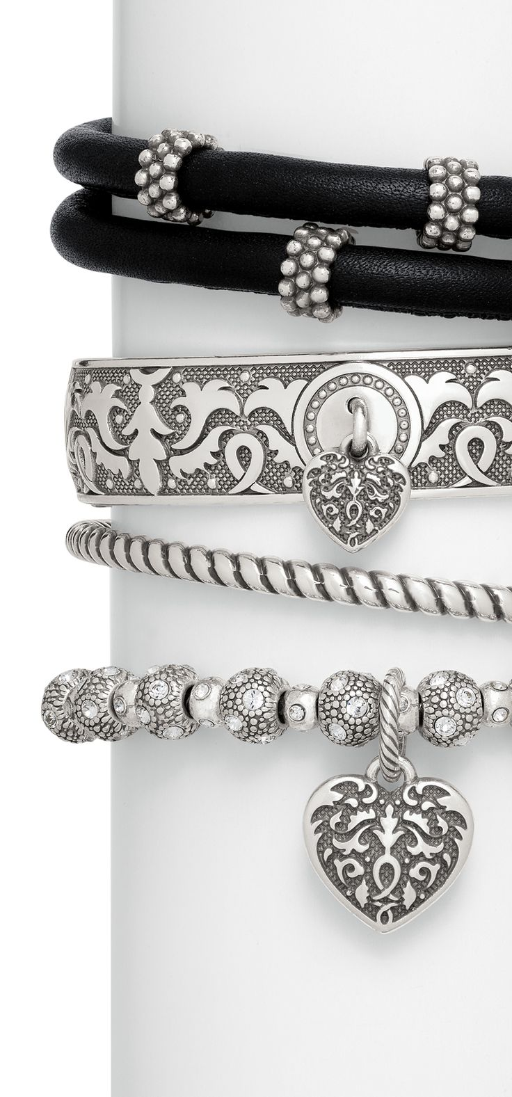 Brighton dark romance charm bracelets with Cordoba heart charms