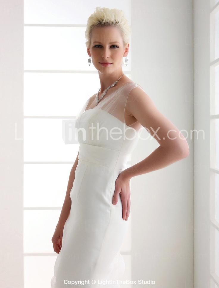 Trumpet/ Mermaid Off-the-shoulder Sweep/ Brush Train Tulle Wedding Dress - US$ 193.99