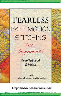 Fearless Free Motion Stitching for Beginners offers newcomers to this technique a 'Back to Basics' approach that will have you feeling comfortable at your sewing machine when the feed dogs are down! This exercise may look challenging, but with a little practice it will help you develop the necessary freedom and relaxation for effective free motion quilting. Deborah Wirsu presents an unusual introduction to the 'freedom' of free motion stitching. Give it at try!