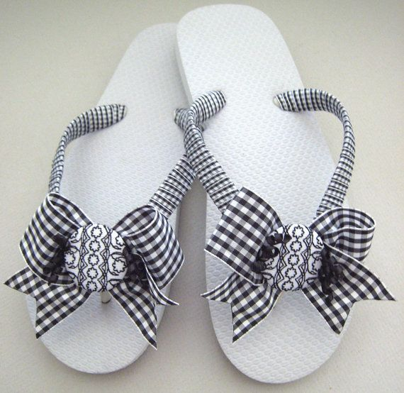 Decorated Flip Flops Bow Flip Flops Ribbon by FlipFlopsforAllShop, $40.00 Hey, Angela, maybe with some bling for the wedding?!?