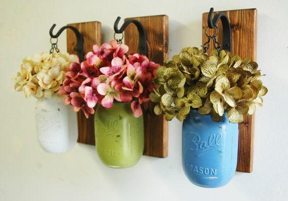 Wall decor-Individual Hanging Painted Mason Jars , rustic decor, painted mason jars, farmhouse decor, kitchen decor, hanging flower vase