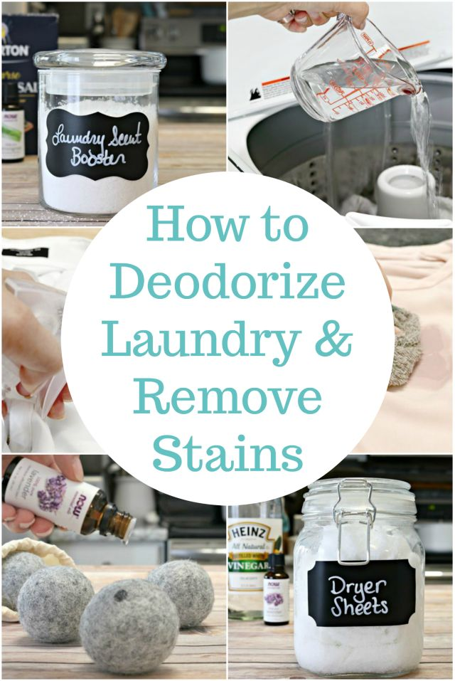 Tips and tricks for deodorizing laundry and removing stains from clothes. These easy hacks can help replace your laundry scent booster, dryer sheets, and mildew remover with the help of essential oils. Get wine, butter and grease stains out with ease too! via @Mom4Real