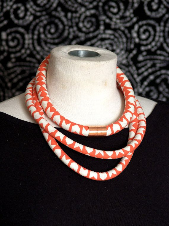 Bright Coral Chevron African Rope Necklace with Copper Accent - Cotton and Steel