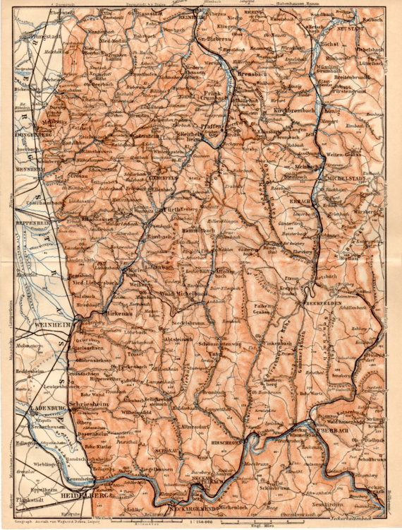 Map Zwingenberg Germany.1909 Heidelberg Germany Ladenburg Weinheim Heppenheim Bensheim