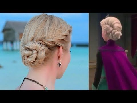 Elsa's hair tutorial; coronation twisted updo hairstyle, Frozen