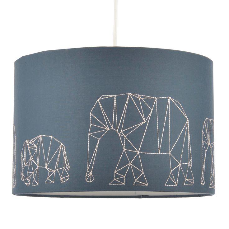 Colours Irwell Denim Blue Elephant Stitched Light Shade (D)30cm | Departments | DIY at B&Q