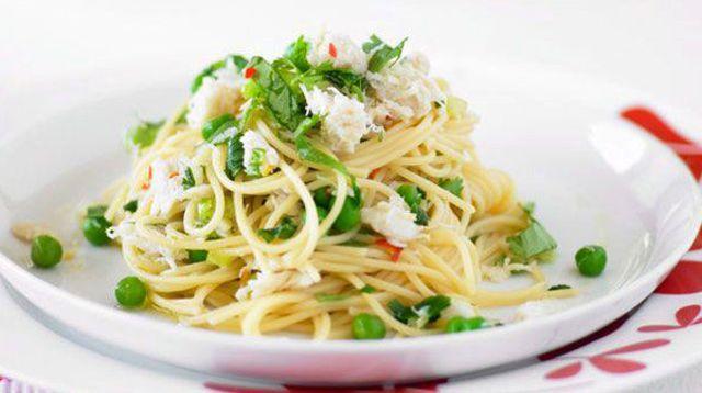 Spaghetti au crabe et au citron vert