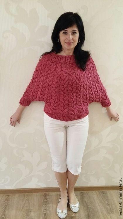 Вязаный свитер Малиновый щербет. Авторская, ручная работа