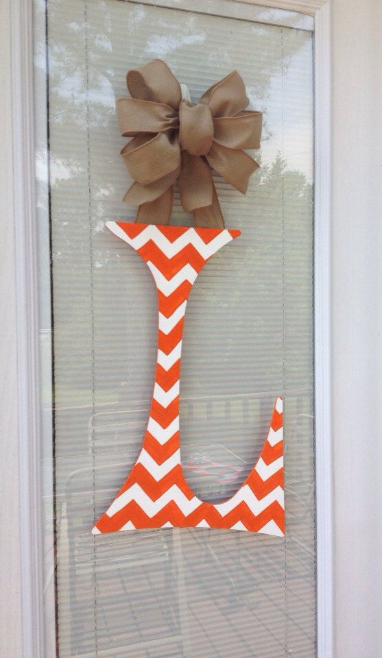 Chevron 24 inch Initial Letter Door Decor/Orange and White with Burlap ribbon hanger