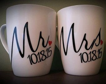 Mr and Mrs Coffee Mug Set One of a Kind Coffee von ByJusteenCrafts