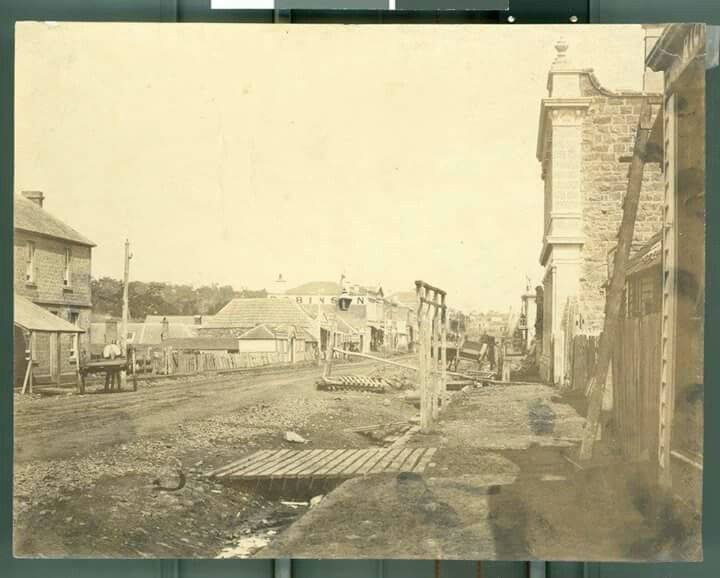 West side of Sydney Street, looking south in Kilmore, Victoria in 1861. State Library of Victoria.