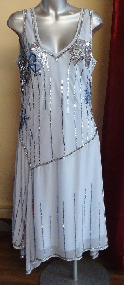 NWT Changes by Together Blue Sequin Flapper Style Dress Size UK 18 #Changesbytogether #Casual