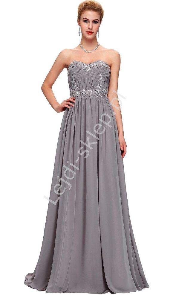 Szara długa sukienka wieczorowa | suknia dla druhny | sukienki dla druhen