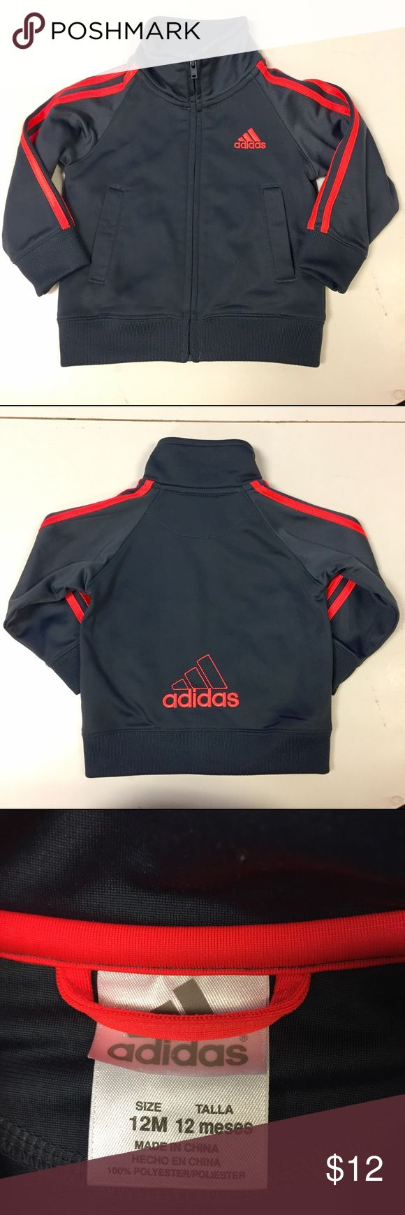 Baby ADIDAS Track Jacket SZ 12 Months This baby / infant Adidas track athletic performance jacket is in excellent condition. Might as well be brand new. Size 12 months. Charcoal colored full zip coat/jacket with orange stripes. adidas Shirts & Tops Sweatshirts & Hoodies