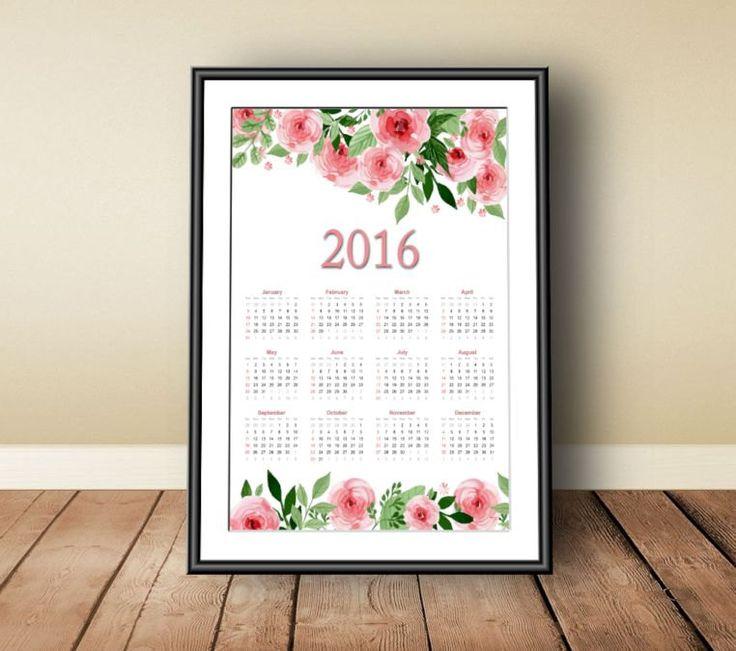 Calendar 2016, Digital download, instant download, printable art, annual calendar 2016, floral print art, watercolor print art, 2016 print - pinned by pin4etsy.com
