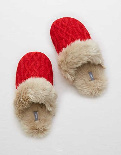 Aerie Cozy Sweater Slipper , Red   Aerie for American Eagle