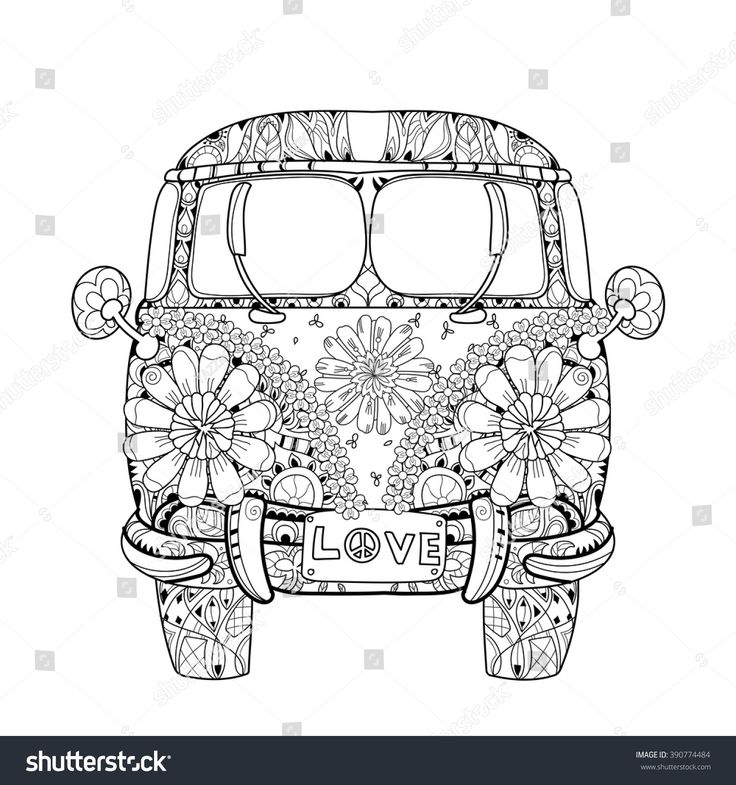 Hand drawn doodle outline retro bus travel decorated with ornaments front view.Vector zentangle illustration.Floral ornament.Sketch for tattoo or coloring pages.Boho style.