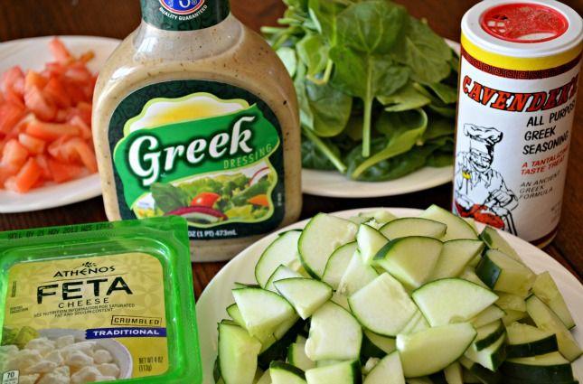 Greek Pasta Salad ingredients include Greek seasoning, Greek Salad Dressings, Feta Cheese, Spinach (baby would work better), Cucumbers, and ...