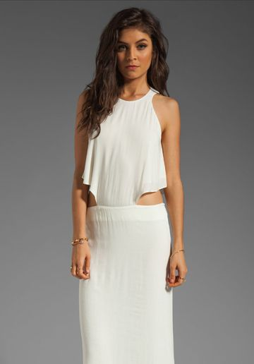 Boulee ivy dress in white and gold