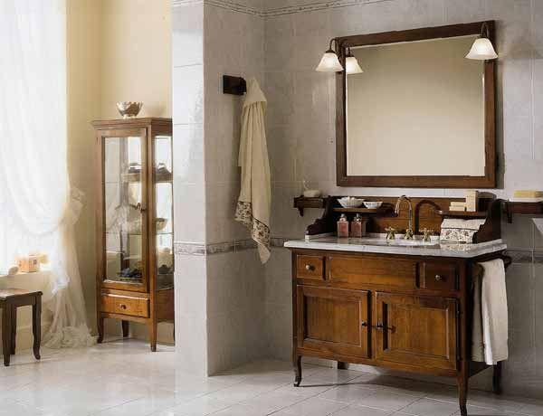 Красивая мебель для ванной комнаты прованс