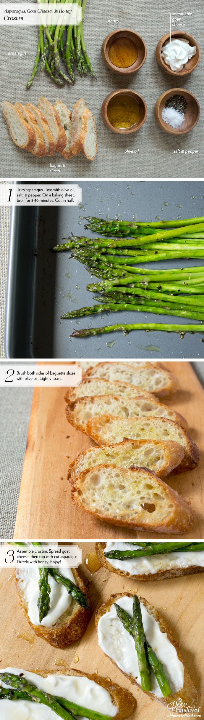 Asparagus, Goat Cheese, & Honey Crostini - Home - Oh, How Civilized